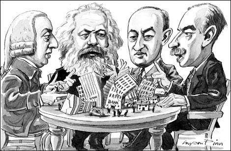 Adam Smith, Karl Marx, Joseph Schumpeter, J.M. Keynes