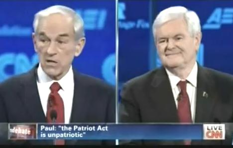 Ron Paul and Newt Gingrich the dickhead who cheated on his wife while she was going through cancer treatment