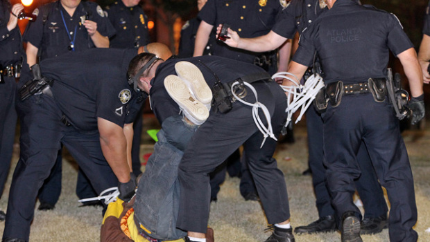 Protesters being arrested in Atlanta