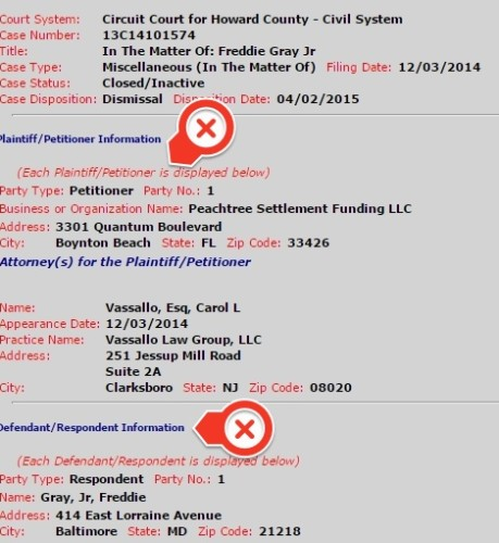 fake freddie gray court records